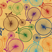 Seamless pattern of retro bicycles — Stock Vector