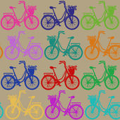 Seamless pattern of bicycles — Vector de stock