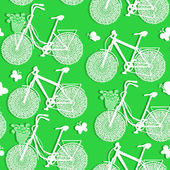 Seamless pattern of bicycles made of paper — Stock Vector