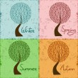 Tree in four season - winter, spring, summer, autumn — Stock Vector