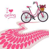 Illustration av cykel och hjärta spår — Stockvektor