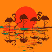 Illustration with flock of flamingos at sunset or sunrise — Stock Vector