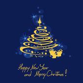 Jul och nyår kort med träd — Stockvektor
