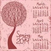 2014 spring calendar with seasonal tree — Stock Vector