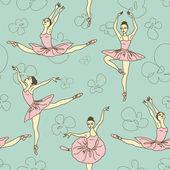Seamless pattern of ballet dancers — Stock Vector