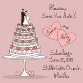 Wedding invitation with cake — Stock vektor