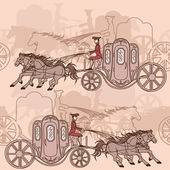 Seamless pattern of horse carriages — Stock Vector