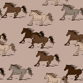 Seamless pattern of horses — Stock vektor