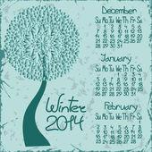 2014 winter calendar with seasonal tree — Stock Vector