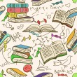 Doodle seamless pattern of books and children's scribbles — Stock Vector #29792481