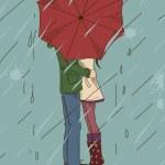 mladý pár líbání pod deštník — Stock vektor