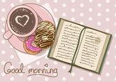 Illustrazione con tazza di caffè e libro — Vettoriale Stock