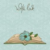 Carta o invito con libro e fiore — Vettoriale Stock