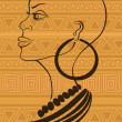 Outline portrait of beautiful African tribal girl — Stock Vector