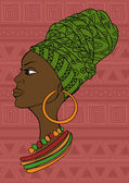Portrait of beautiful African girl in a headscarf — Stock Vector