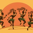 Dancing African aborigine girls at sunset — Stock Vector