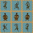 Stock Vector: Seamless pattern of dancing Africaborigines