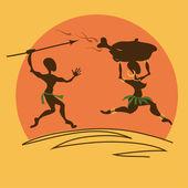 Comic illustration with aborigines — Stock Vector