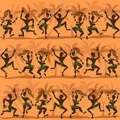 Seamless pattern of dancing African aborigines — Stock Vector