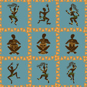 Seamless pattern of dancing African aborigines — Stock Vector