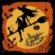 Halloween illustration with witch silhouette — Stock Vector