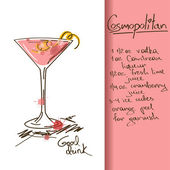 Illustration with Cosmopolitan cocktail — Stock Vector