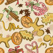 Seamless pattern di dolci di natale — Vettoriale Stock