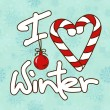 Illustration with stylized text I Love Winter — 图库矢量图片