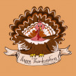 Stock Vector: Thanksgiving card with turkey bird