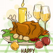 Thanksgiving card with roasted turkey bird — Stock Vector