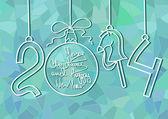 新的一年卡与圣诞装饰品 — 图库矢量图片