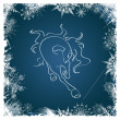 New Year card with horse framed by snowflakes — ベクター素材ストック