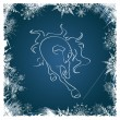 New Year card with horse framed by snowflakes — Stock vektor