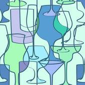 бесшовный фон коктейль очки — Cтоковый вектор