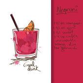 Illustratie met negroni cocktail — Stockvector