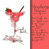 Illustration with Strawberry Daiquiri cocktail — Vetor de Stock