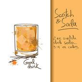 Viski ve soda kokteyl ile çizim — Stok Vektör