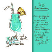 Illustration with Blue Hawaiian cocktail — Stock Vector