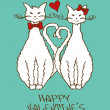 Valentine's card with beloved cats — Vettoriali Stock