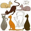 Set of isolated cat icons — Stock Vector