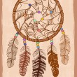 Illustration with tribal dreamcatcher — Stok Vektör
