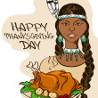 Thanksgiving card with Native American Indian girl — Stock Vector