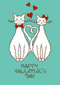 Valentine's card with beloved cats — Stock Vector