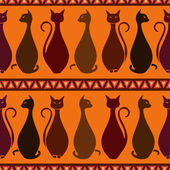 Seamless pattern of elegance cats — Stock Vector