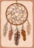 Illustration with tribal dreamcatcher — Stockvektor