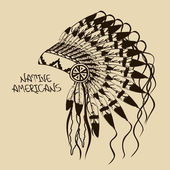 Illustration with Native American Indian chief headdress — Vector de stock