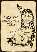 Thanksgiving card with Native American Indian girl — Vector de stock