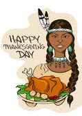 Thanksgiving card with Native American Indian girl — Vetorial Stock