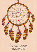Illustration with tribal dreamcatcher — Vector de stock