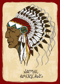 Illustration with Native American Indian chief — Vector de stock